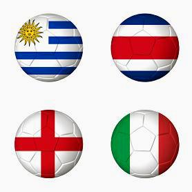 Soccer championship Brazil 2014 group D flags on soccer balls