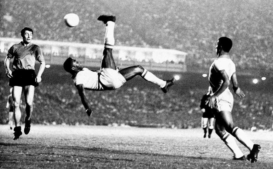 Hanging in the air for Brazil vs Belgium at the Maracana Stadium, Rio de Janeiro in 1968